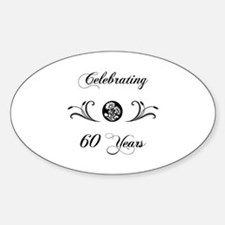 60th Anniversary (b&w) Sticker (Oval)