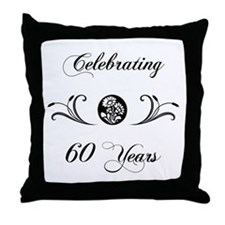 60th Anniversary (b&w) Throw Pillow