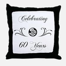 60th Anniversary (b&w) Throw Pillow