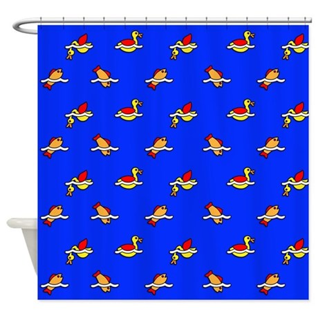 Ducks and Fishes Shower Curtain