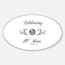 10th Anniversary (b&w) Sticker (Oval)