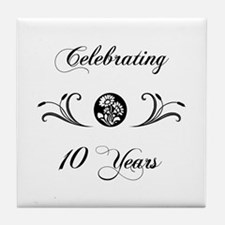 10th Anniversary (b&w) Tile Coaster