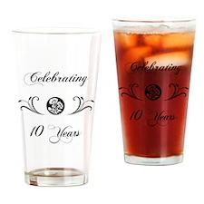 10th Anniversary (b&w) Drinking Glass
