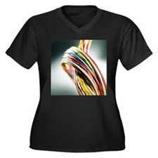 Computer cables - Women's Plus Size Dark V-Neck T-