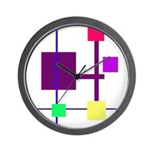 Geometric Rectangles Purple Wall Clock