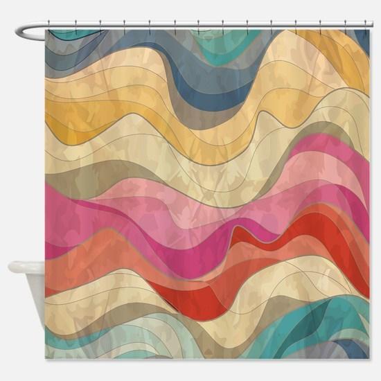 Cute Wavy Pattern Shower Curtain