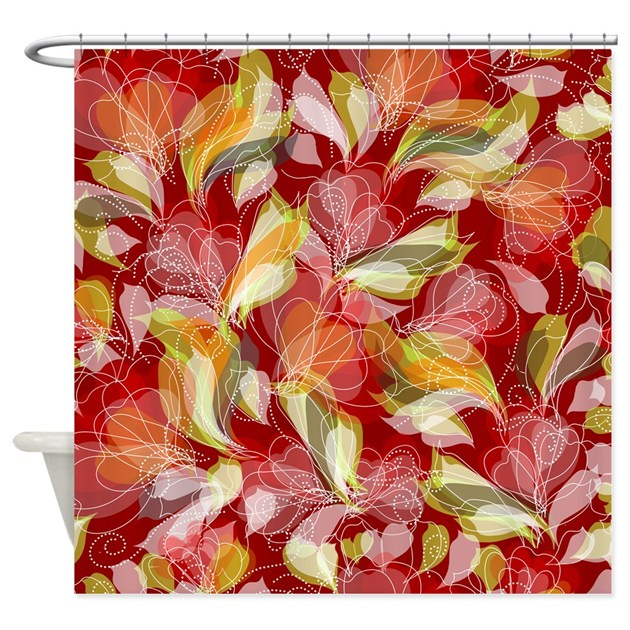 Red Floral Shower Curtain By BestShowerCurtains