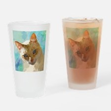 Flame Point Siamese Cat Portrait Drinking Glass