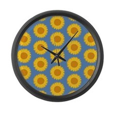 Sunflowers on Blue. Large Wall Clock