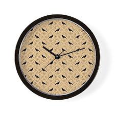 Crow Pattern on Beige. Wall Clock