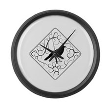 Crow with Swirl Pattern. Large Wall Clock