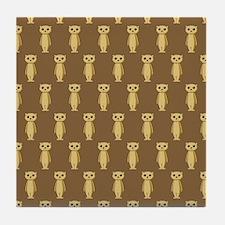 Meerkat Pattern on Brown. Tile Coaster