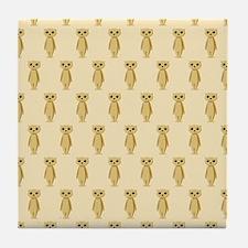 Meerkat Pattern on Beige. Tile Coaster