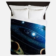 Artwork of the solar system - Queen Duvet