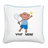 Tennis monkey Square Canvas Pillows