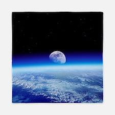 Moon rising over Earth's horizon - Queen Duvet