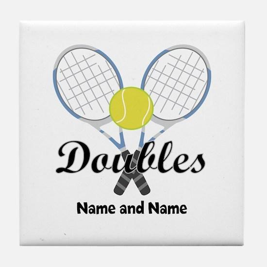 Personalized Tennis Doubles Tile Coaster