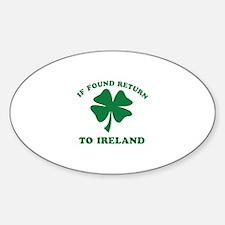 If found return to Ireland Sticker (Oval)