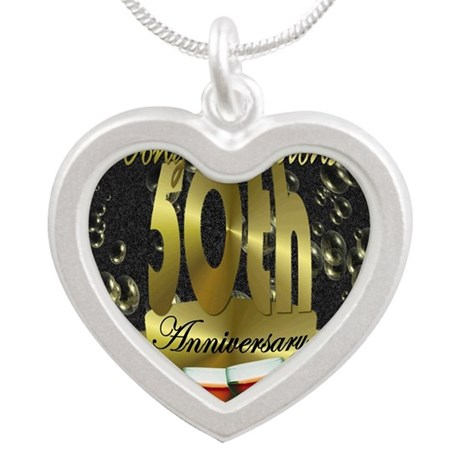 50th anniversary congradulations Silver Heart Neck