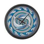 Blue Dolphins Large Wall Clock