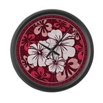 Red Hibiscus Large Wall Clock
