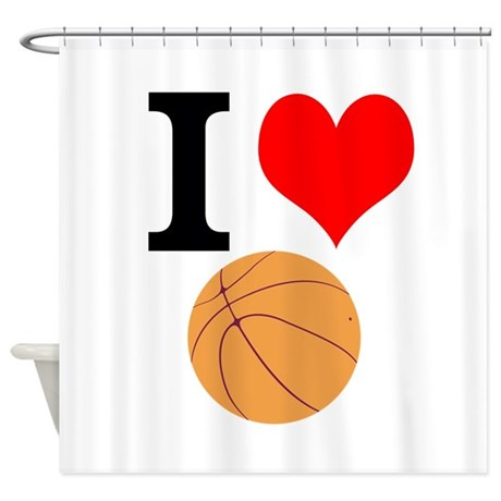 I Heart Basketball Shower Curtain