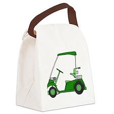 Green Golf Cart Canvas Lunch Bag