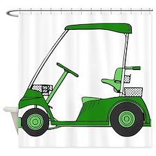 Green Golf Cart Shower Curtain