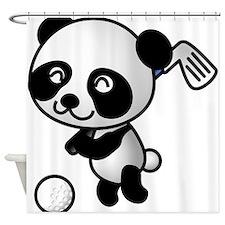 Panda Golfer Shower Curtain