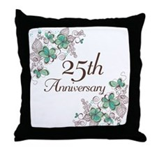 25th Anniversary Floral Throw Pillow