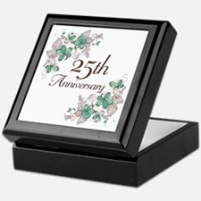 25th Anniversary Floral Keepsake Box