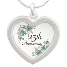 25th Anniversary Floral Silver Heart Necklace