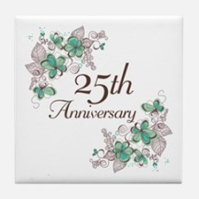 25th Anniversary Floral Tile Coaster