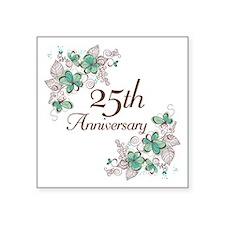 """25th Anniversary Floral Square Sticker 3"""" x 3"""""""