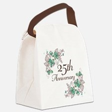 25th Anniversary Floral Canvas Lunch Bag