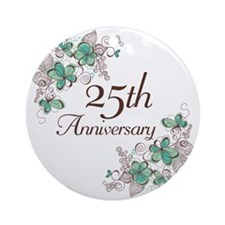 25th Anniversary Floral Ornament (Round)