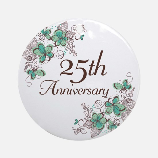 25th Anniversary Floral Ornament (Round)