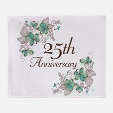 25th Anniversary Floral Throw Blanket