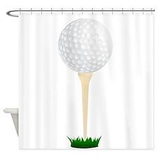 Golf Ball On Tee Shower Curtain