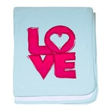 Cute grungy painted love design baby blanket