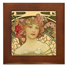 Flower Girl by Mucha Framed Tile