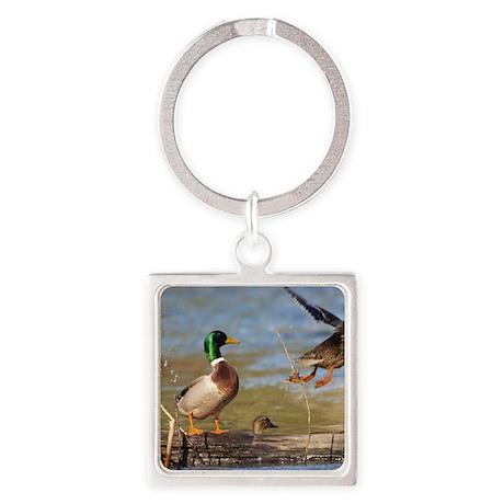 Mallard Flight Square Keychain
