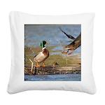 Mallard Flight Square Canvas Pillow