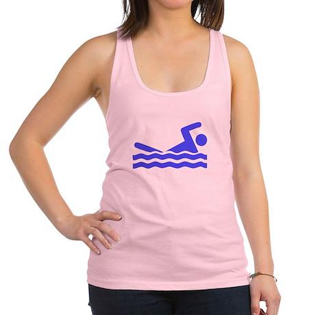Blue Swimming Icon Racerback Tank Top
