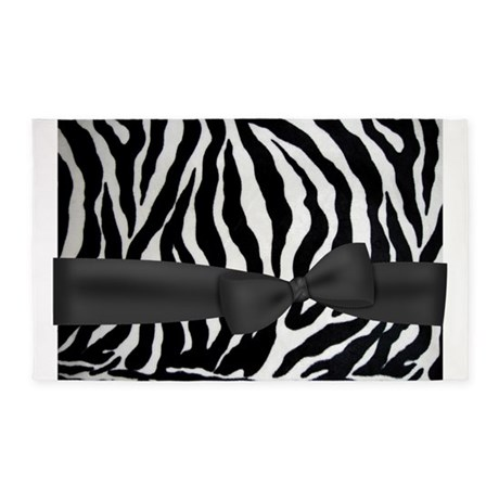 zebra print pattern with black bow 3'x5' Area Rug