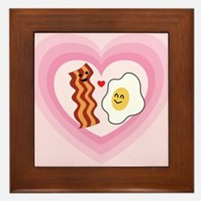 Pink Heart Valentine Bacon & Eggs in Love Framed T
