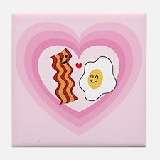 Pink Heart Valentine Bacon & Eggs in Love Tile Coa