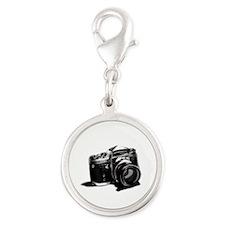 Camera Silver Round Charm