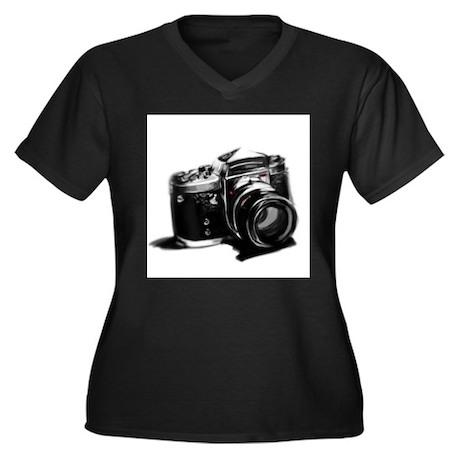 Camera Women's Plus Size V-Neck Dark T-Shirt