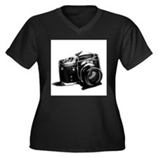Camera Women's Plus Size V-Neck Dark T-Shirt